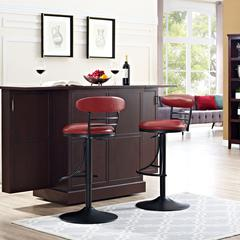 Jasper Swivel Counter Stool In Black With Red Cushion