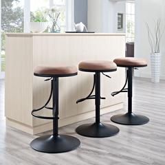 Jasper Backless Swivel Counter Stool In Black With Brown Cushion