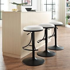 Jasper Backless Swivel Counter Stool In Black With White Cushion