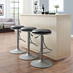 Jasper Backless Swivel Counter Stool In Platinum With Black Cushion