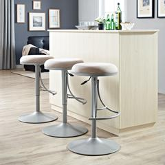 Jasper Backless Swivel Counter Stool In Platinum With Light Tan Cushion
