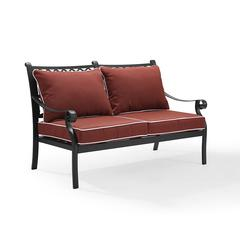 Portofino Cast Aluminum Love Seat In Charcoal Black Finish With Sangria Cushions