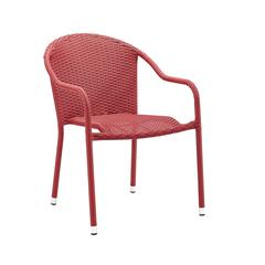 Palm Harbor Outdoor Wicker Stackable Chairs - Set Of 2 Red