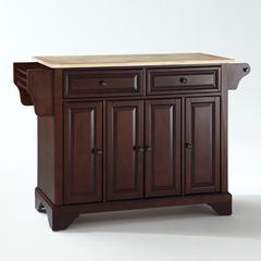 Lafayette Natural Wood Top Kitchen Island In Vintage Mahogany Finish