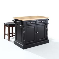 "Oxford Butcher Block Top Kitchen Island In Black Finish With 24"" Black Upholstered Square Seat  Stools"