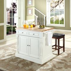 """Oxford Butcher Block Top Kitchen Island In White Finish With 24"""" Black Upholstered Square Seat  Stools"""