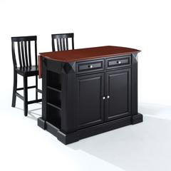 "Coventry Drop Leaf Breakfast Bar Top Kitchen Island In Black Finish With 24"" Black School House Stools"