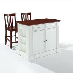 "Coventry Drop Leaf Breakfast Bar Top Kitchen Island In White Finish With 24"" Cherry School House Stools"