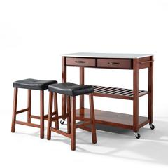 "Stainless Steel Top Kitchen Cart/Island In Classic Cherry Finish With 24"" Cherry Upholstered Saddle Stools"