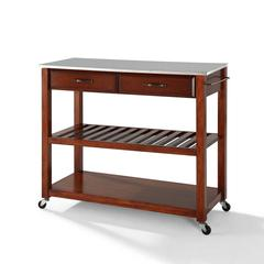 Stainless Steel Top Kitchen Cart/Island With Optional Stool Storage In Classic Cherry Finish