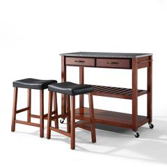 "Solid Granite Top Kitchen Cart/Island In Classic Cherry Finish With 24"" Cherry Upholstered Saddle Stools"