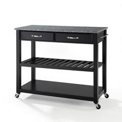 Solid Granite Top Kitchen Cart/Island With Optional Stool Storage In Black Finish