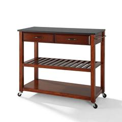 Solid Black Granite Top Kitchen Cart/Island With Optional Stool Storage In Classic Cherry Finish