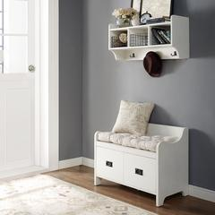 Fremont 2 Pc Entryway Kit - Bench, Shelf In Distressed White