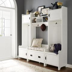 Fremont 4 Pc Entryway Kit - Two Towers, Bench, Shelf In Distressed White