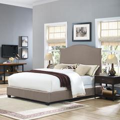 Bellingham Camelback Upholstered Queen Bedset In Oatmeal Linen