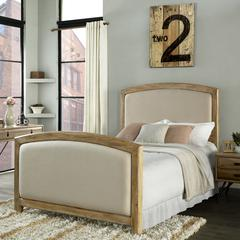 Cambria Queen Bedset In Weathered Pine And Crème Linen