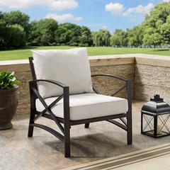 Kaplan Arm Chair In Oiled Bronze With Oatmeal Universal Cushion Cover