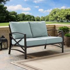Kaplan Loveseat In Oiled Bronze With Mist Universal Cushion Cover