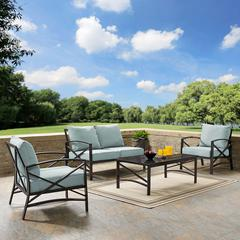 Kaplan 4 Pc Outdoor Seating Set With Mist Cushion - Loveseat, Two Chairs, Coffee Table
