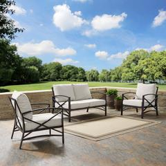 Kaplan 3 Pc Outdoor Seating Set With Oatmeal Cushion - Loveseat, Two Outdoor Chairs