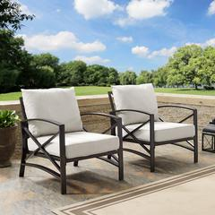 Kaplan 2 Pc Outdoor Seating Set With Oatmeal Cushion -  Two Outdoor Chairs