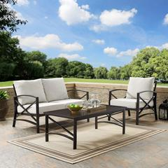 Kaplan 3 Pc Outdoor Seating Set With Oatmeal Cushion - Loveseat, Chair , Coffee Table