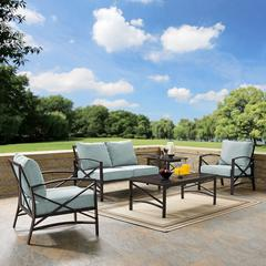 Kaplan 5 Pc Outdoor Seating Set With Mist Cushion - Loveseat, Two Chairs, Coffee Table, Side Table