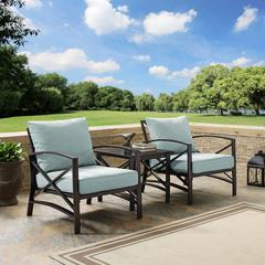 Kaplan 3 Pc Outdoor Seating Set With Mist Cushion - Two Chairs, Side Table