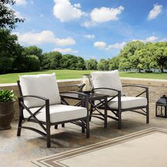 Kaplan 3 Pc Outdoor Seating Set With Oatmeal Cushion - Two Chairs, Side Table