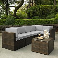 Palm Harbor 6 Piece Outdoor Wicker Seating Set With Grey Cushions - Three Corner Chairs, Two Center Chairs & Coffee Sectional Table