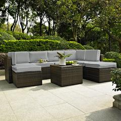 Palm Harbor 8 Piece Outdoor Wicker Seating Set With Grey Cushions - Two Corner Chairs, Three Center Chairs, Two Ottomans & Coffee Sectional Table