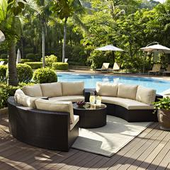 Catalina 6 Piece Outdoor Wicker Seating Set With Sand Cushions - Three Round Sectional Sofas, Two Arm Tables, And Round Glass Top Coffee Table
