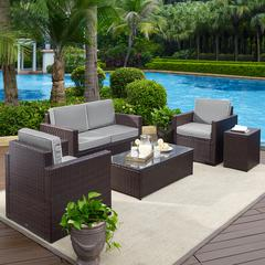 Palm Harbor 5-Piece Outdoor Wicker Conversation Set With Grey Cushions - Loveseat, Two Arm Chairs, Side Table & Glass Top Table
