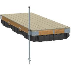 Pre-Built Commercial Grade Floating Dock with Wood Frame & Resin Top - 4'x10'