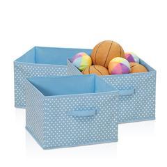 Laci Small Dot Non-Woven Fabric Soft Storage Organizer, 3-Pack, Blue