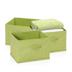 Laci Small Dot Non-Woven Fabric Soft Storage Organizer, 3-Pack, Green