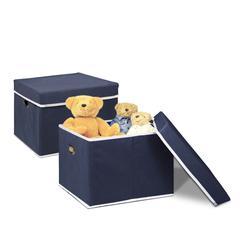 Non-Woven Fabric Heavy-Duty Storage Organizer, 2-Pack Dark Blue