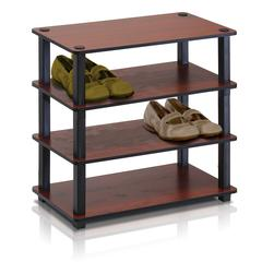 Turn-S-Tube 4-Tier Shoe Rack, Dark Cherry/Black