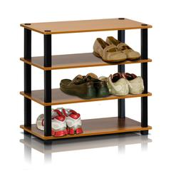 Furinno 13081LC/BK Turn-S-Tube 4-Tier Shoe Rack, Light Cherry/Black