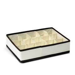 Non-Woven Fabric 3x5 Soft Storage Organizer, Ivory w/Mid Brown Trim