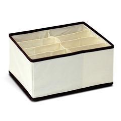 Non-Woven Fabric 4x2 Deep Soft Storage Organizer, Ivory w/Mid Brown Trim