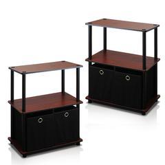 Go Green 3-Tier 2-Bins Multipurpose Storage Shelf, Set of Two