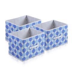 Laci  Dot Design Non-Woven Fabric Soft Storage Organizer, Set of Three, Blue