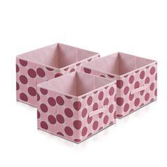Laci  Dot Design Non-Woven Fabric Soft Storage Organizer, Set of Three, Pink