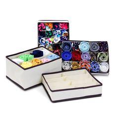 Collapsible Storage Boxes Socks Underwear Ties Closet Organizer Drawer Divider 4 Set, Ivory