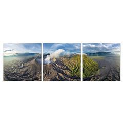 SeniA Gunung Bromo 3-Panel MDF Framed Photography Triptych Print, 48 x 16-inch