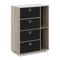 Multipurpose Storage Cabinet w/4 Bin-Type Drawers, French Oak Grey/Black