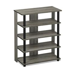 Turn-N-Tube 5 Tier Shoe Rack, French Oak Grey/Black