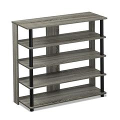 Turn-N-Tube 5 Tier Wide Shoe Rack, French Oak Grey/Black